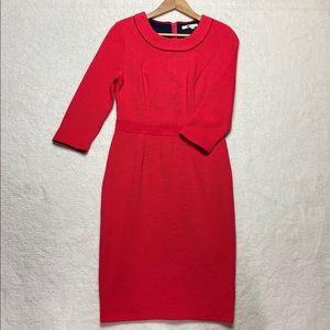 BODEN US 8 R Sheath Dress Coral Stretch Back Zip
